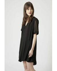 TOPSHOP | Black Drape Front Tunic Dress | Lyst
