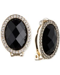 Anne Klein | Black Gold-tone Crystal And Jet Stone Clip-on Earrings | Lyst