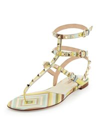 Valentino - Multicolor Rockstud Striped-Leather Gladiator Sandals - Lyst