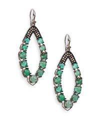 Bavna | Green Emerald, Champagne Diamond & Sterling Silver Loop Earrings | Lyst