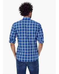 Mango - Blue Slim-fit Check Shirt for Men - Lyst