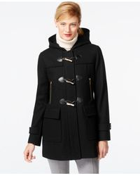 Michael Kors | Black Michael Faux-leather-trim Hooded Duffle Coat | Lyst