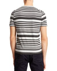Kenneth Cole | Black Striped Henley Tee for Men | Lyst