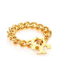 Tory Burch Metallic Serif T Logo Toggle Bracelet