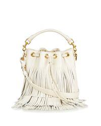 Saint Laurent | White Emmanuelle Small Fringed Leather Cross-Body Bag | Lyst