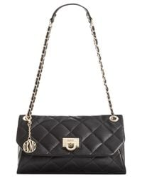 DKNY - Black Gansevoort Quilted Nappa Leather Envelope Clutch - Lyst