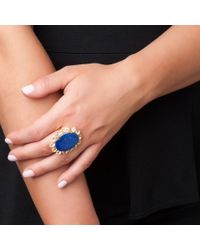 Bounkit | Metallic Lapis Flower Ring | Lyst