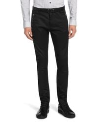 HUGO | Black Extra-slim-fit Trousers In Cotton Blend: 'hajon' for Men | Lyst