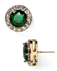 kate spade new york | Green Basket Pave Stud Earrings | Lyst
