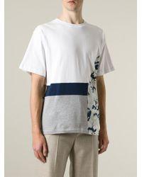 MSGM - White Panelled T-Shirt for Men - Lyst
