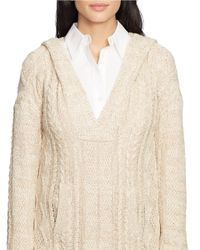 Lauren by Ralph Lauren Natural Cable Cotton Hooded Sweater