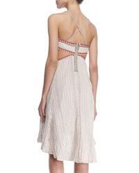 Free People - White Stitched Sleeveless Cutout Dress - Lyst