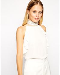 ASOS - Natural Ruffle Faux Pearl Choker Collar Necklace - Lyst