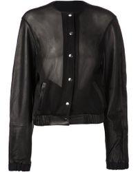 Marija Pinjuh Black Leather Bomber Jacket