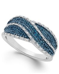 Macy's | Metallic Blue And White Diamond Ring In Sterling Silver (1/4 Ct. T.w.) | Lyst