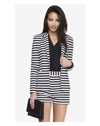 Express Black 24 Inch Horizontal Stripe Knit Blazer