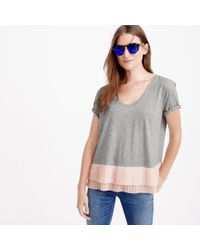 J.Crew | Gray Pleated Chiffon-hem T-shirt | Lyst