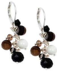 Jones New York | Black Silver-Tone Neutral-Color Bead Cluster Earrings | Lyst