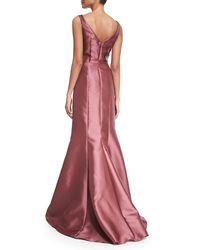 Carmen Marc Valvo - Multicolor Sleeveless Peplum Ball Gown - Lyst