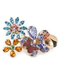 Dolce & Gabbana - Multicolor Floral Butterfly Double Cocktail Ring - Lyst