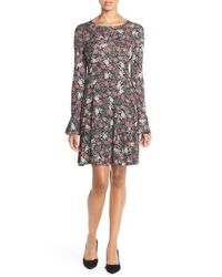 French Connection - Black Floral Print Jersey A-line Dress - Lyst