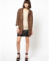 Helene Berman | Brown Classic Car Coat in Textured Wool Mix | Lyst