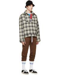Gosha Rubchinskiy Gray Grey Check Flannel Shirt Jacket for men