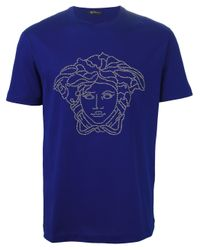 Versace Blue Studded 'medusa Head' T-shirt for men