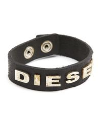 DIESEL | Albin Aged Black Leather Bracelet With Rusted Lettering for Men | Lyst