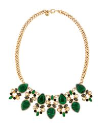 Lydell NYC | Multicolor Golden Statement Necklace W/ Malachite-color Cabochons & Crystals | Lyst