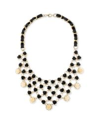 Betsey Johnson - Metallic Goldtone Black Flower Bib Frontal Necklace - Lyst