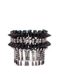 Venna | Metallic Crystal Spike Fringe Bracelet | Lyst