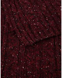 ASOS - Purple Cable Scarf In Burgundy Nepp for Men - Lyst