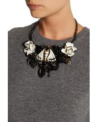 Roberto Cavalli Metallic Butterfly Ruthenium Plated Swarovski Crystal Necklace