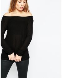 ASOS - Black Top With Off Shoulder Details In Slouchy Fabric 2 Pack Save 10% - Lyst