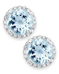 Macy's | Multicolor Aquamarine (2 Ct. T.w.) And Diamond (1/5 Ct. T.w.) Stud Earrings In 14k White Gold | Lyst