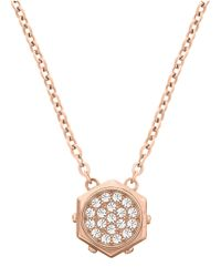 Swarovski | Pink Bolt Rose Goldtone And Crystal Hexagon Pendant Necklace | Lyst