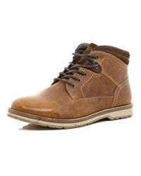 River Island | Brown Tan Lace Up Worker Boots for Men | Lyst