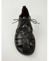 Pollini Black Lace-Up Gladiator Sandals for men