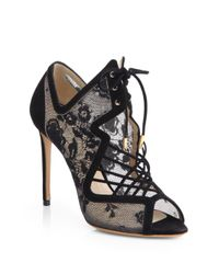 Nicholas Kirkwood Black Lace & Suede Cage Ankle Boots