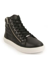 Steve Madden - Black Elyka Leather Side Zipper Perforated Athletic Sneakers - Lyst