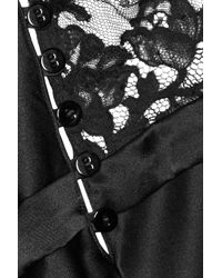 La Perla Black Pizzo Lace-Paneled Silk-Blend Satin Nightdress