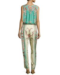 Johnny Was - Blue Chettl Sleeveless Printed Georgette Jumpsuit - Lyst