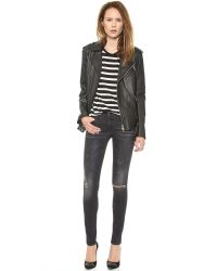 R13 Destroyed Skinny Jeans - Black Marble W/ Ripped Knees