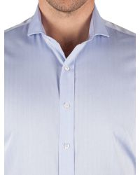 Alexandre Of England | Blue Herringbone Tailored Fit Long Sleeve Shirt for Men | Lyst
