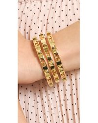 Tory Burch | Metallic Stacked Logo Stud Cuff Bracelet Shiny Gold | Lyst