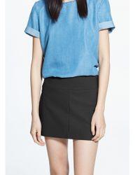 Mango White Grosgrain Trim Mini Skirt