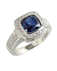 Judith Ripka | Metallic Blue Corundum And White Sapphire 'Cushion' Ring | Lyst