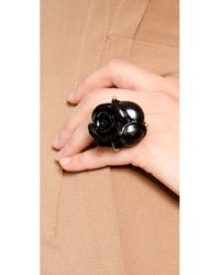 Oscar de la Renta Black Goldplated Resin Rose Ring