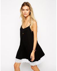 ASOS - Black Swing Dress With Lace Hem - Lyst